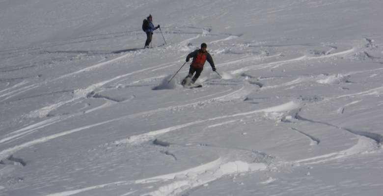 discesa del ghiacciao del Pisgana
