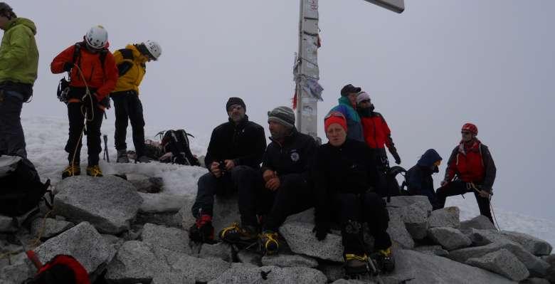 Sulla cima della Presanella 3.558m.